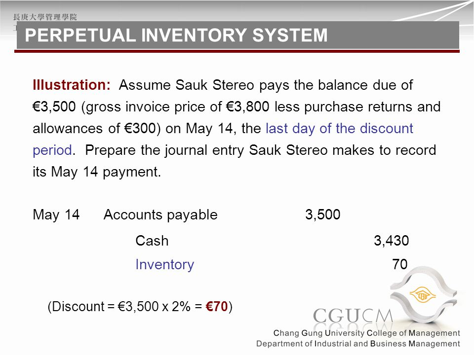 Accounts payable3,500May 14 Cash 3,430 Inventory 70 (Discount = €3,500 x 2% = €70) Illustration: Assume Sauk Stereo pays the balance due of €3,500 (gr