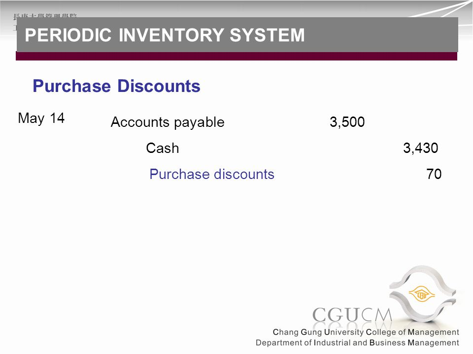 Accounts payable3,500 May 14 Purchase discounts 70 Cash 3,430 Purchase Discounts PERIODIC INVENTORY SYSTEM