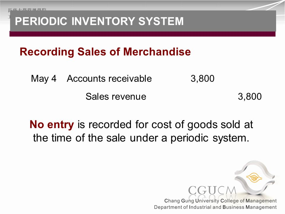 No entry is recorded for cost of goods sold at the time of the sale under a periodic system. Accounts receivable3,800May 4 Sales revenue 3,800 Recordi