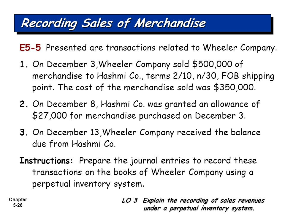 Chapter 5-26 E5-5 E5-5 Presented are transactions related to Wheeler Company. 1. On December 3,Wheeler Company sold $500,000 of merchandise to Hashmi