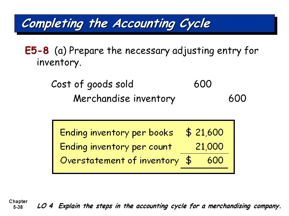 Chapter 5-38 E5-8 E5-8 (a) Prepare the necessary adjusting entry for inventory. Completing the Accounting Cycle LO 4 Explain the steps in the accounti
