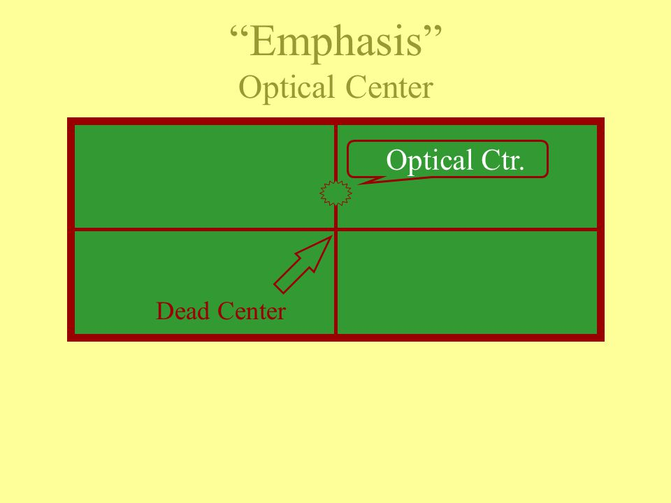 EXAMPLE Optical Center - is located just above dead-center or the display's mid-point & is usually the point of emphasis.