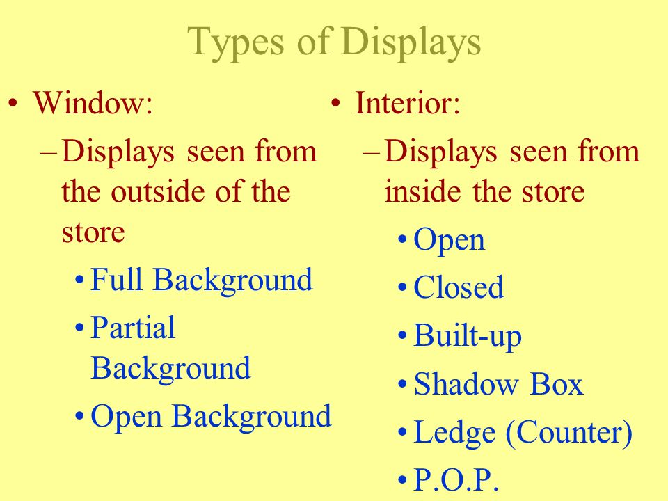 OBJECTIVE Be able to define each type of display