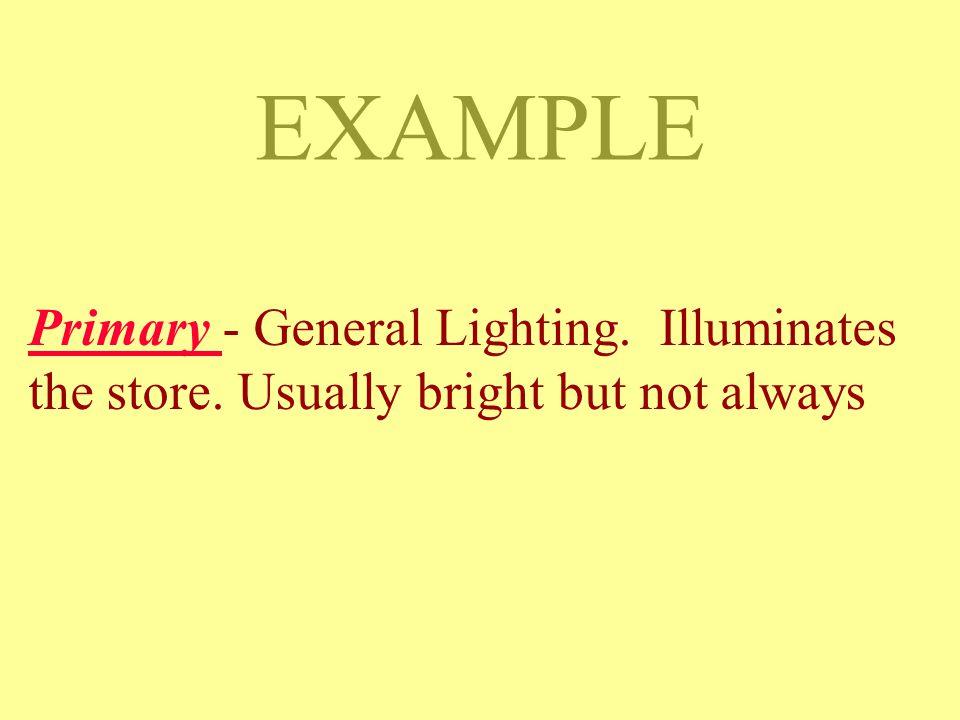 DISPLAY LIGHTING Primary - General Lighting. Illuminates the store.