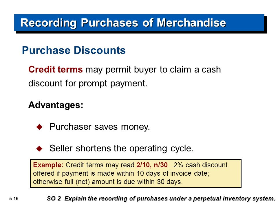 5-17 Accounts payable3,500May 14 Cash 3,430 Recording Purchases of Merchandise Inventory 70 (Discount = $3,500 x 2% = $70) SO 2 Explain the recording of purchases under a perpetual inventory system.