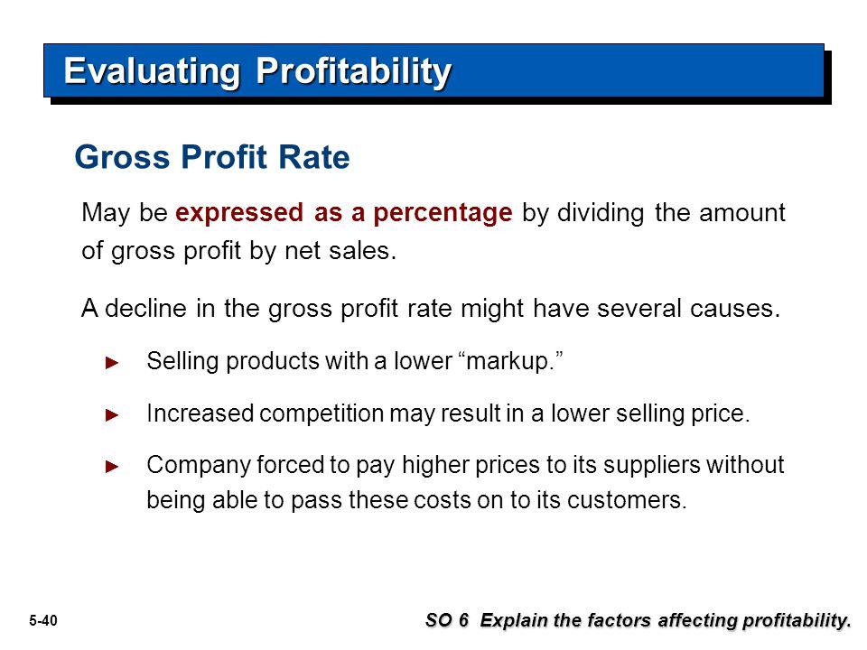 5-41 Evaluating Profitability SO 6 Explain the factors affecting profitability.