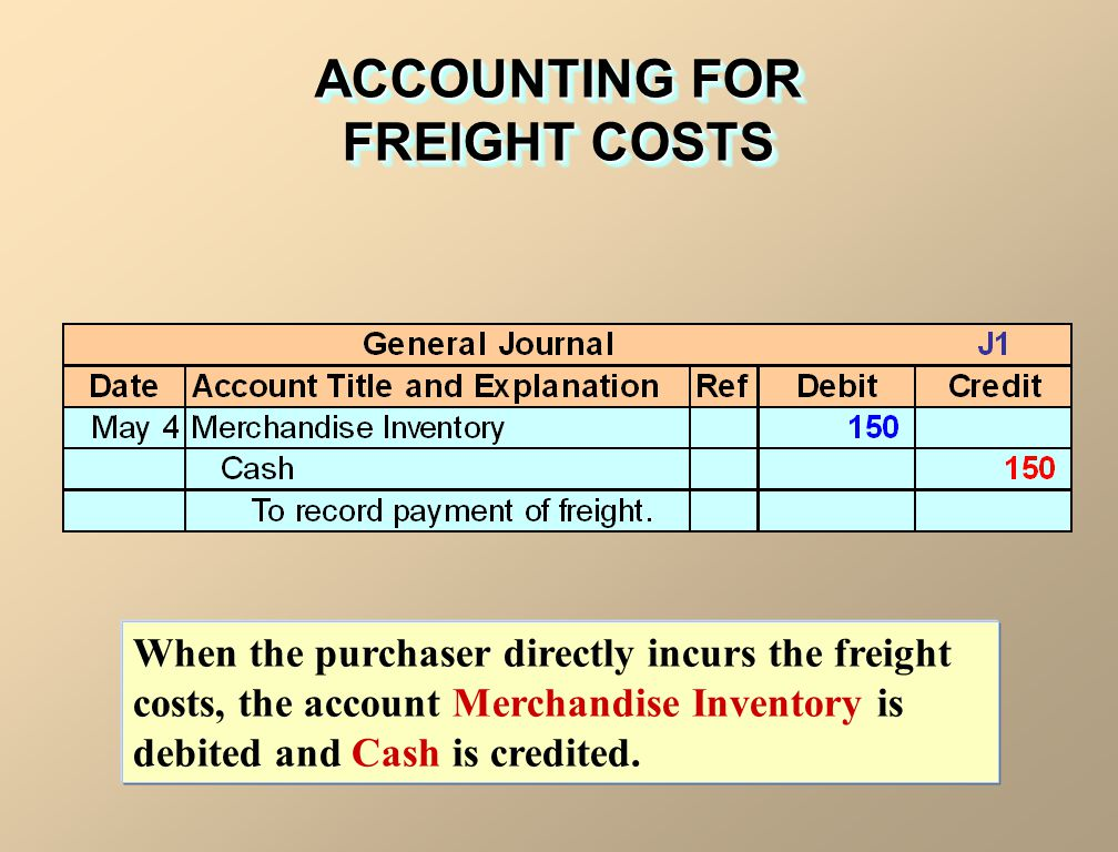 When the purchaser directly incurs the freight costs, the account Merchandise Inventory is debited and Cash is credited. ACCOUNTING FOR FREIGHT COSTS