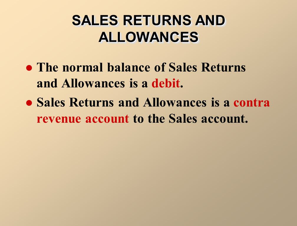 The normal balance of Sales Returns and Allowances is a debit. Sales Returns and Allowances is a contra revenue account to the Sales account. SALES RE