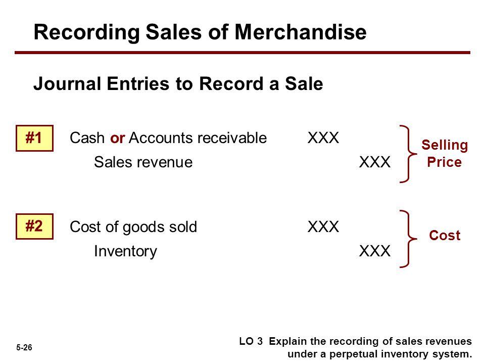 5-26 Journal Entries to Record a Sale Cash or Accounts receivableXXX Sales revenue XXX LO 3 Explain the recording of sales revenues under a perpetual