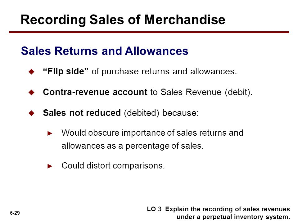 """5-29  """"Flip side"""" of purchase returns and allowances.  Contra-revenue account to Sales Revenue (debit).  Sales not reduced (debited) because: ► Wou"""
