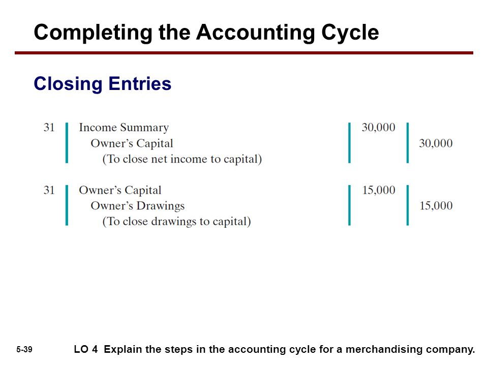 5-39 Completing the Accounting Cycle Closing Entries LO 4 Explain the steps in the accounting cycle for a merchandising company.