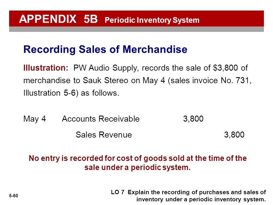 5-60 No entry is recorded for cost of goods sold at the time of the sale under a periodic system. Illustration: PW Audio Supply, records the sale of $