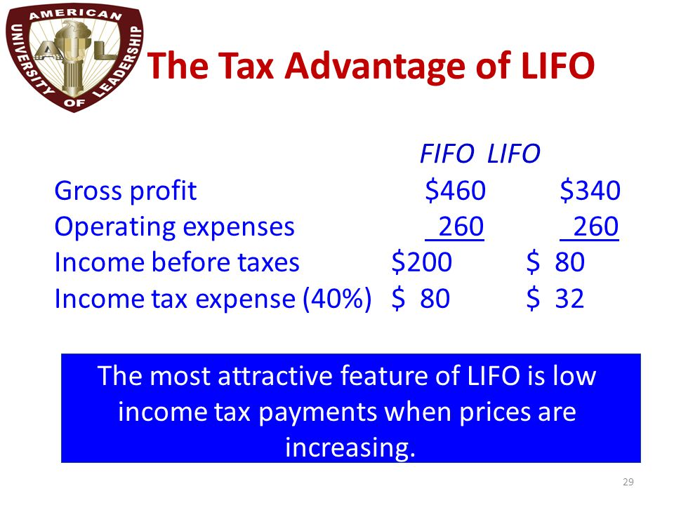The Tax Advantage of LIFO 29 Gross profit$460$340 Operating expenses 260 260 Income before taxes$200$ 80 Income tax expense (40%)$ 80$ 32 FIFOLIFO The