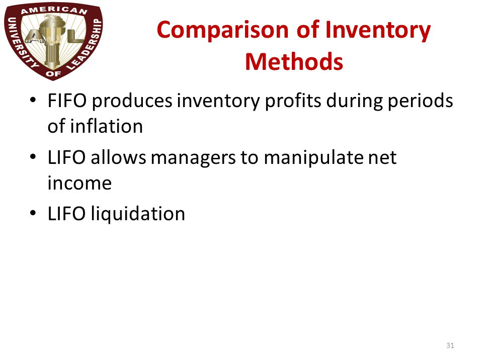 Comparison of Inventory Methods FIFO produces inventory profits during periods of inflation LIFO allows managers to manipulate net income LIFO liquida