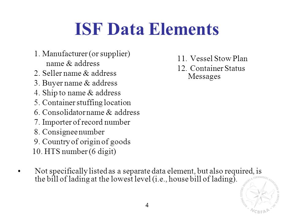 4 ISF Data Elements 11. Vessel Stow Plan 12. Container Status Messages 1.
