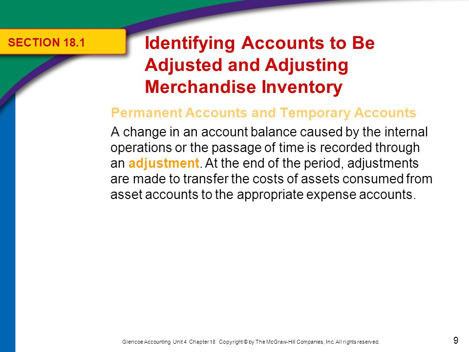 9 Glencoe Accounting Unit 4 Chapter 18 Copyright © by The McGraw-Hill Companies, Inc. All rights reserved. Permanent Accounts and Temporary Accounts A