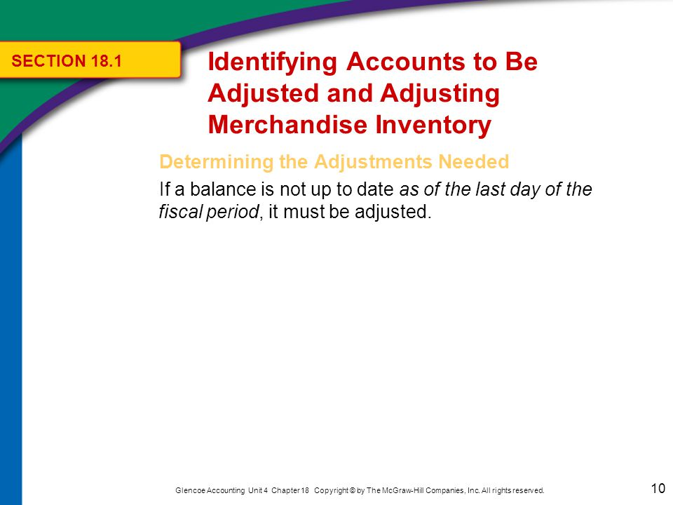 10 Glencoe Accounting Unit 4 Chapter 18 Copyright © by The McGraw-Hill Companies, Inc.