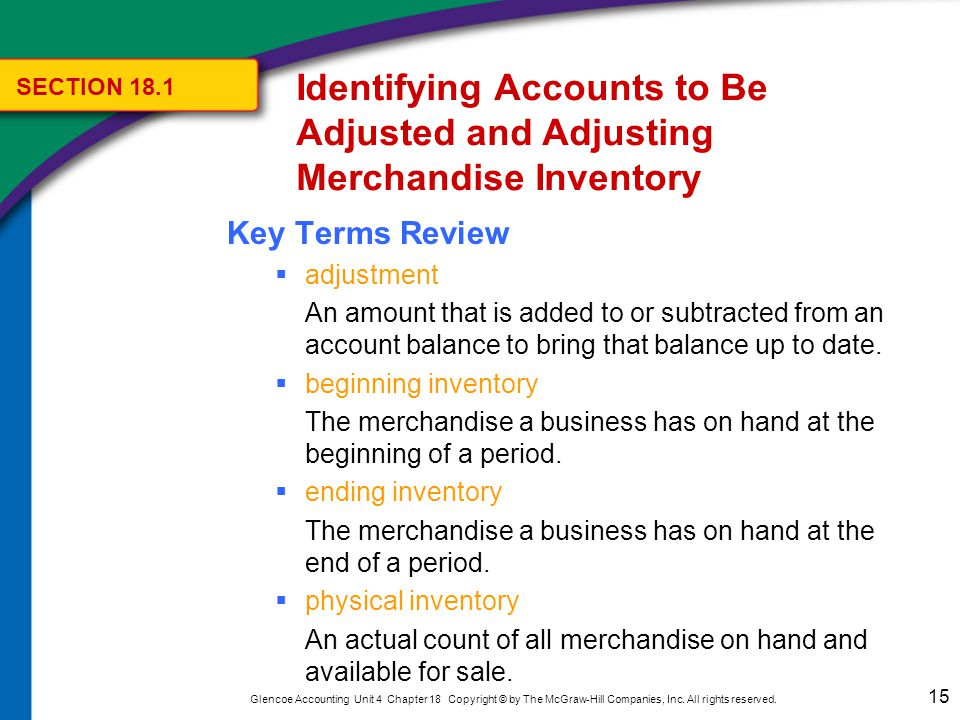 15 Glencoe Accounting Unit 4 Chapter 18 Copyright © by The McGraw-Hill Companies, Inc. All rights reserved. Key Terms Review  adjustment An amount th