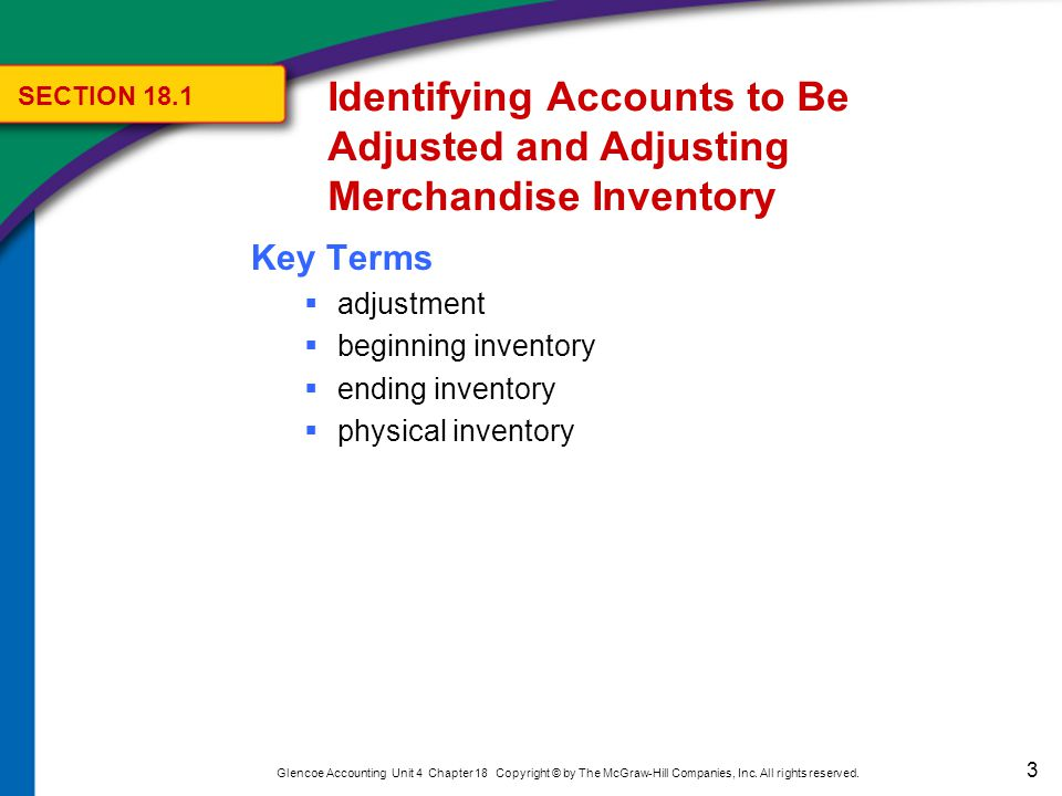 3 Glencoe Accounting Unit 4 Chapter 18 Copyright © by The McGraw-Hill Companies, Inc. All rights reserved. Key Terms  adjustment  beginning inventor