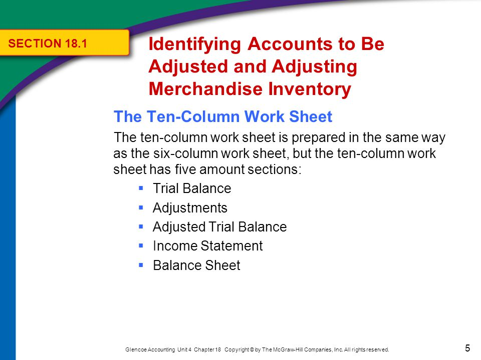 5 Glencoe Accounting Unit 4 Chapter 18 Copyright © by The McGraw-Hill Companies, Inc. All rights reserved. The Ten-Column Work Sheet The ten-column wo
