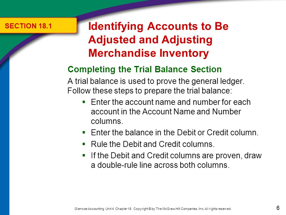 6 Glencoe Accounting Unit 4 Chapter 18 Copyright © by The McGraw-Hill Companies, Inc. All rights reserved. Completing the Trial Balance Section A tria