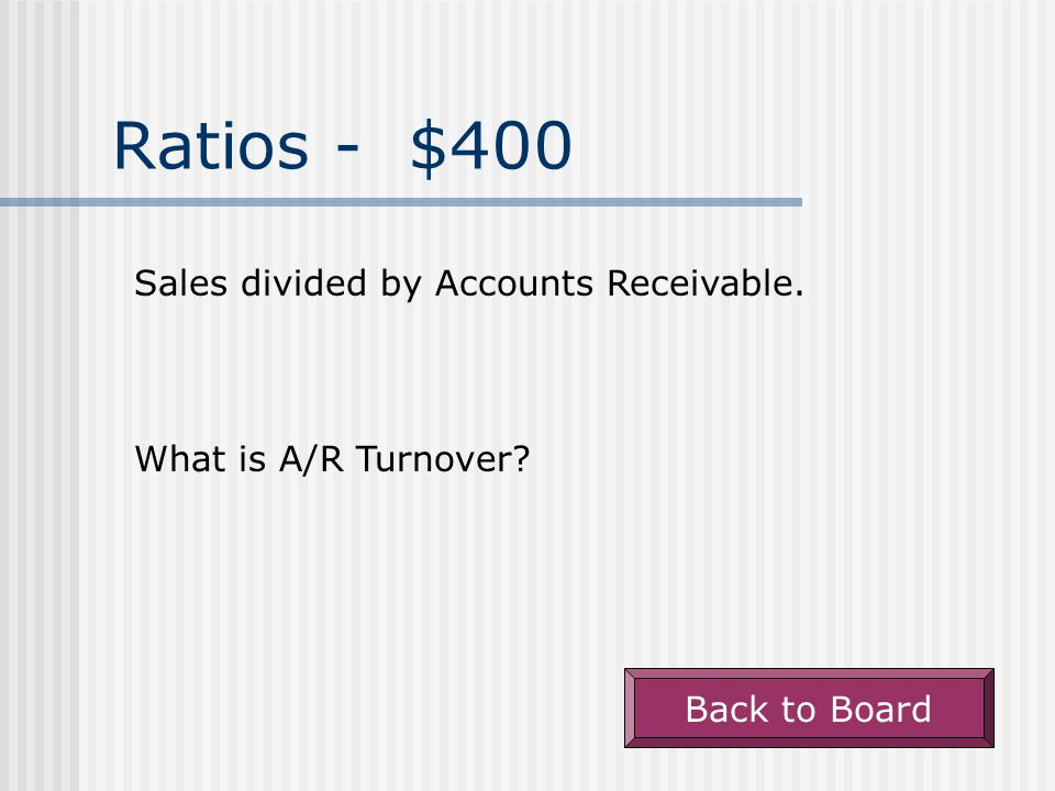 Ratios - $300 Cost of Goods Sold divided by Inventory. What is Inventory Turnover Back to Board