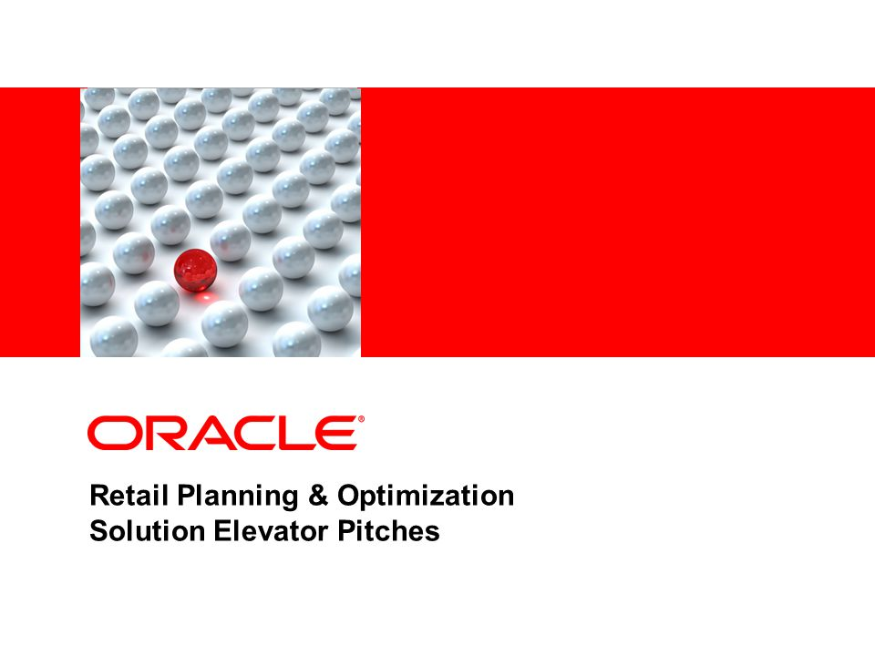 Retail Planning & Optimization Solution Elevator Pitches