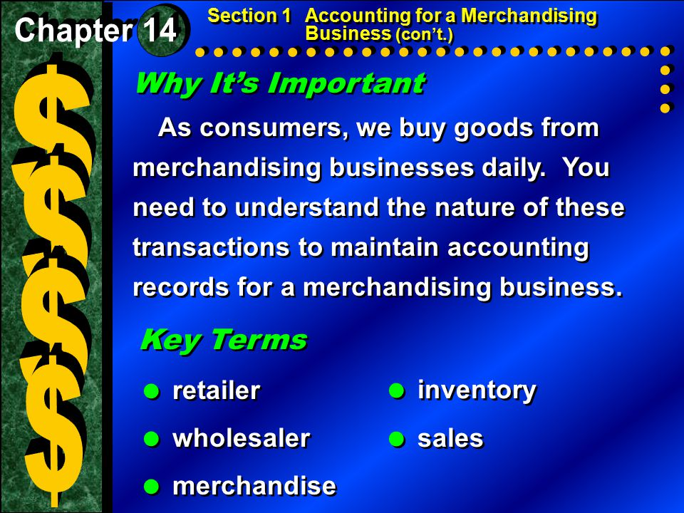 Why It's Important As consumers, we buy goods from merchandising businesses daily.