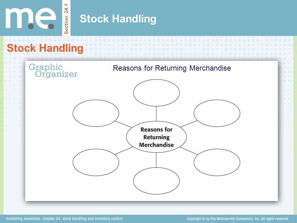 Stock Handling Section 24.1 Reasons for Returning Merchandise