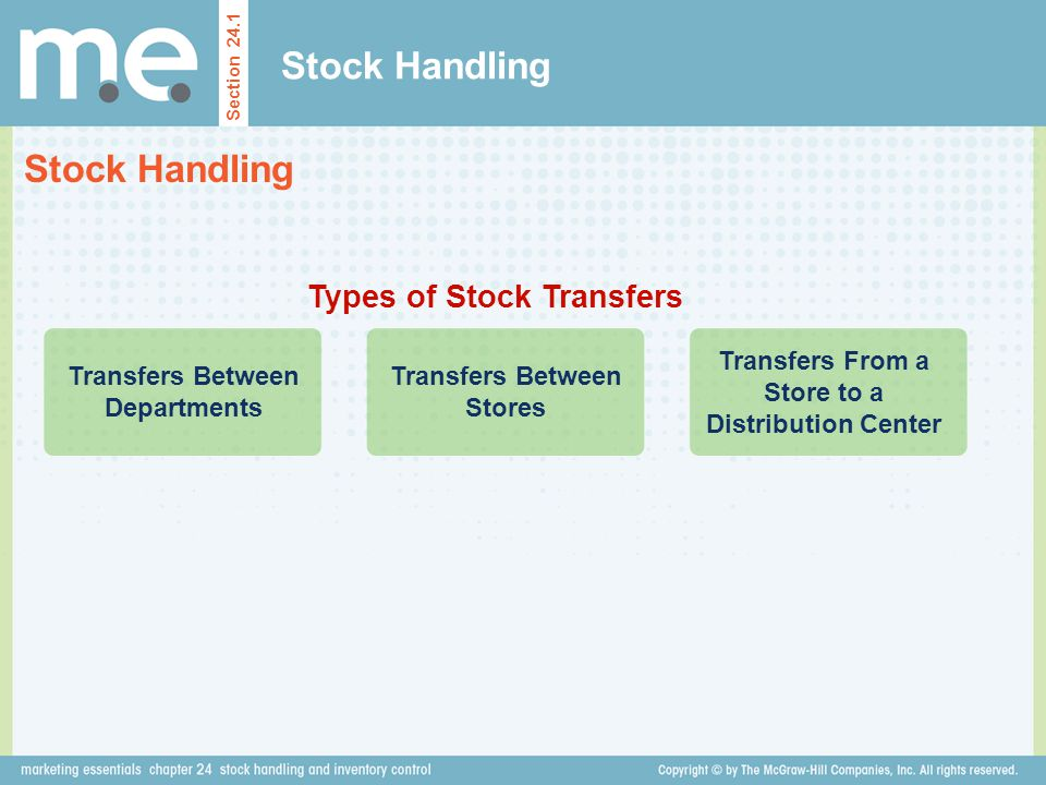 Stock Handling Section 24.1 Types of Stock Transfers Transfers Between Departments Transfers Between Stores Transfers From a Store to a Distribution C