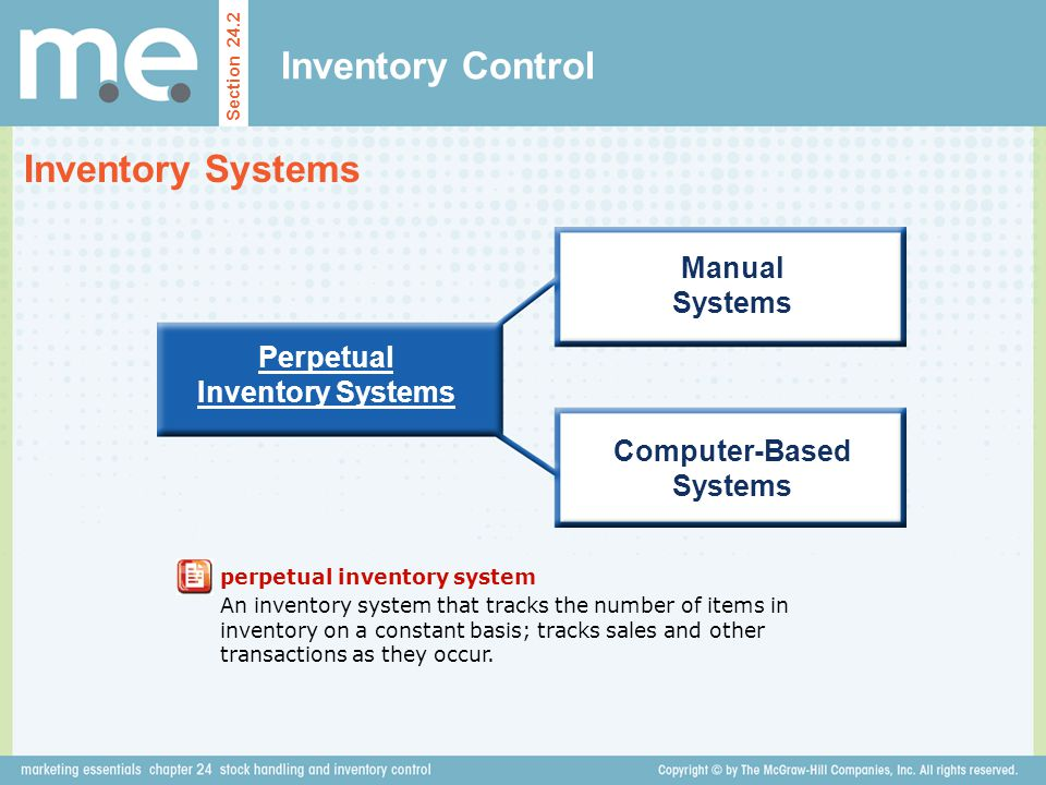Inventory Control Section 24.2 Inventory Systems Perpetual Inventory Systems Manual Systems Computer-Based Systems perpetual inventory system An inven