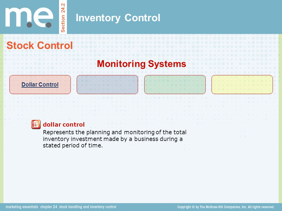 Inventory Control Section 24.2 Stock Control Monitoring Systems dollar control Represents the planning and monitoring of the total inventory investmen
