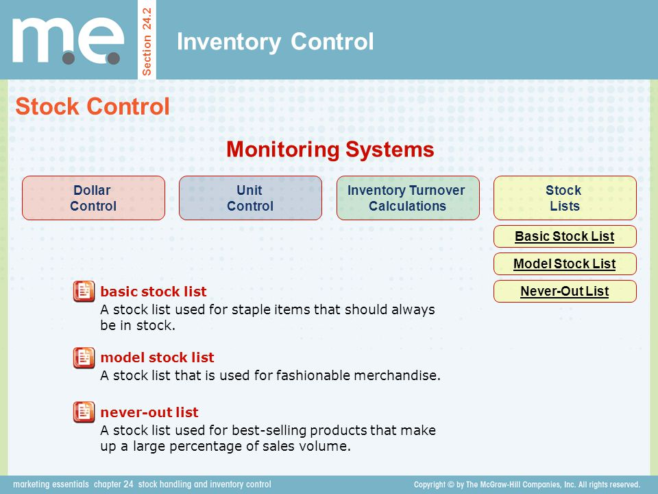 Inventory Control Section 24.2 Stock Control Monitoring Systems basic stock list A stock list used for staple items that should always be in stock. Do