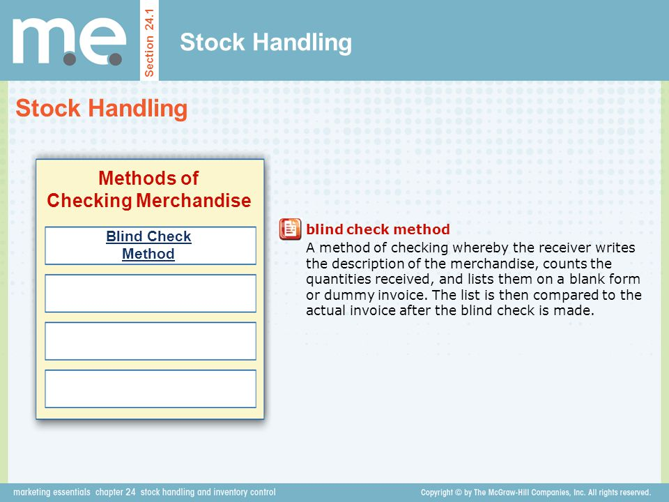 Stock Handling Section 24.1 Types of Stock Transfers Transfers Between Departments Transfers Between Stores Transfers From a Store to a Distribution Center