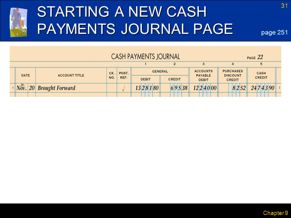 31 Chapter 9 STARTING A NEW CASH PAYMENTS JOURNAL PAGE page 251
