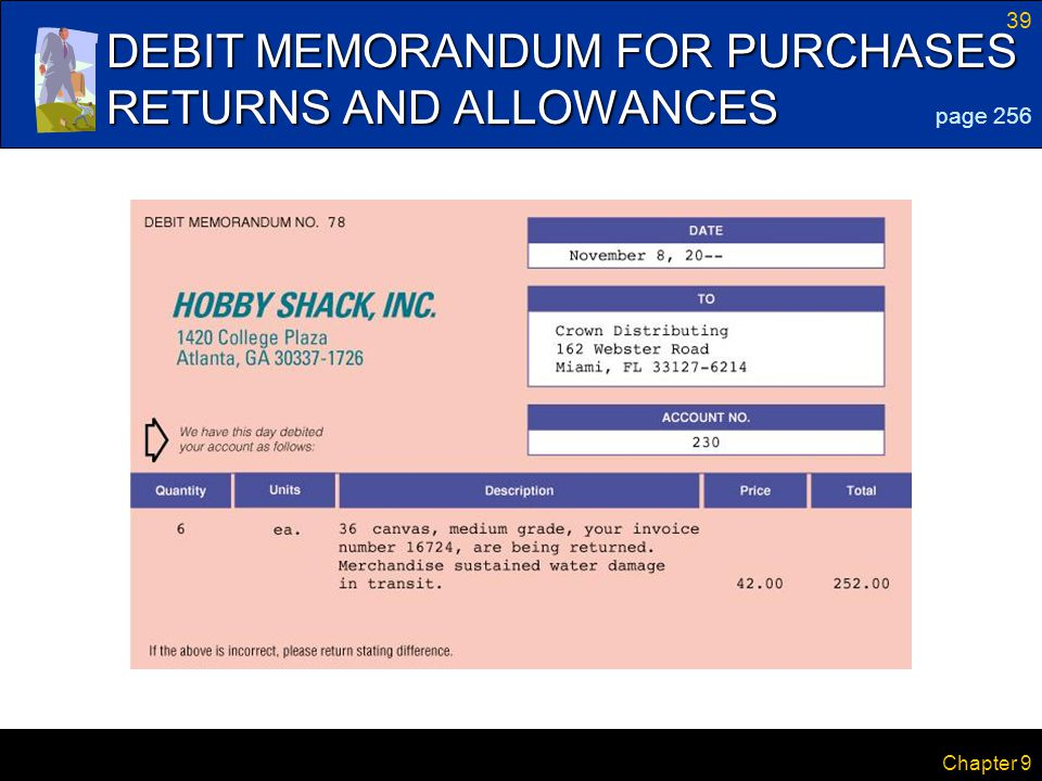 39 Chapter 9 DEBIT MEMORANDUM FOR PURCHASES RETURNS AND ALLOWANCES page 256