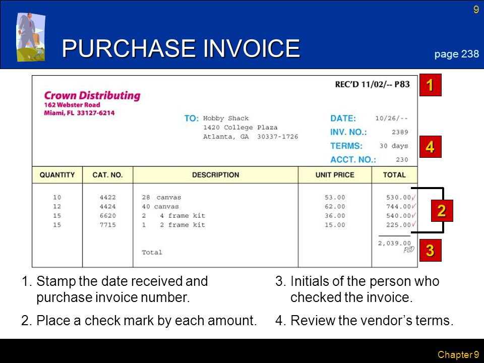 9 Chapter 9 2 1.Stamp the date received and purchase invoice number. PURCHASE INVOICE 1 3 4 page 238 4.Review the vendor's terms. 3.Initials of the pe