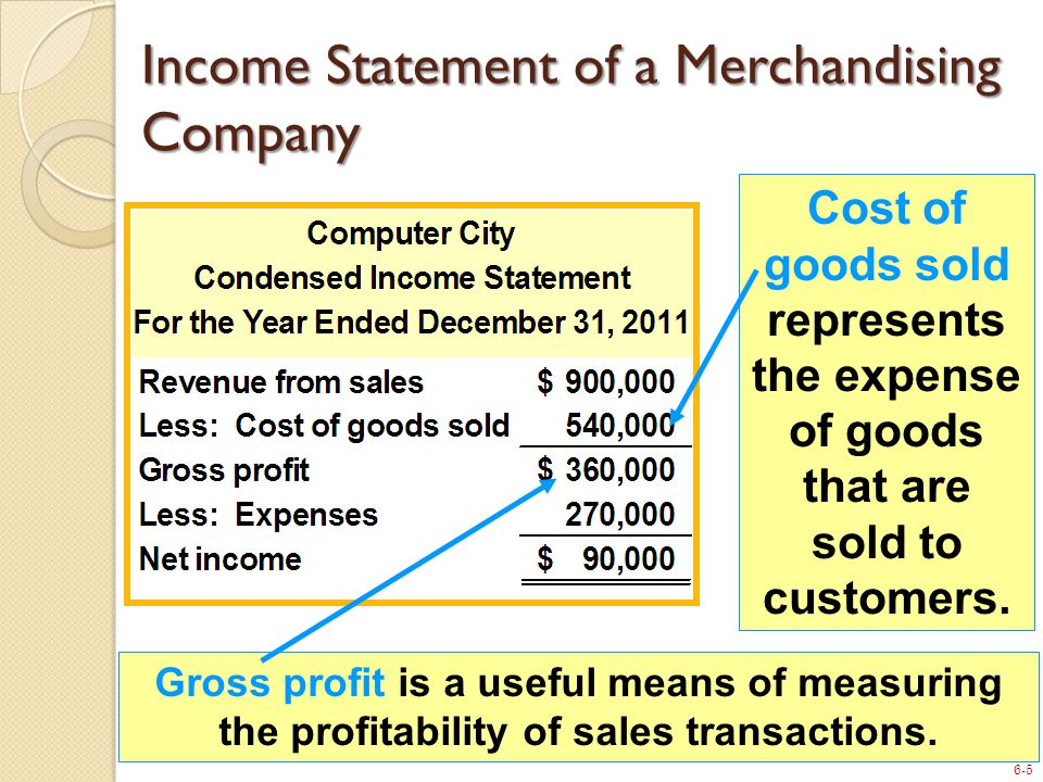 6-5 Income Statement of a Merchandising Company Cost of goods sold represents the expense of goods that are sold to customers.