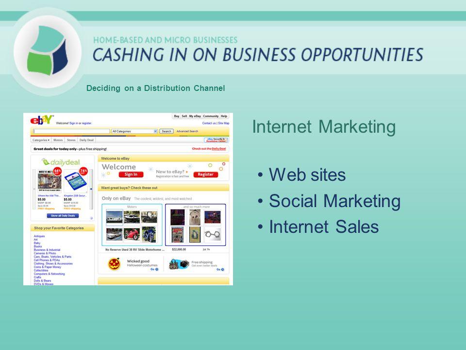 Internet Marketing Web sites Social Marketing Internet Sales Deciding on a Distribution Channel