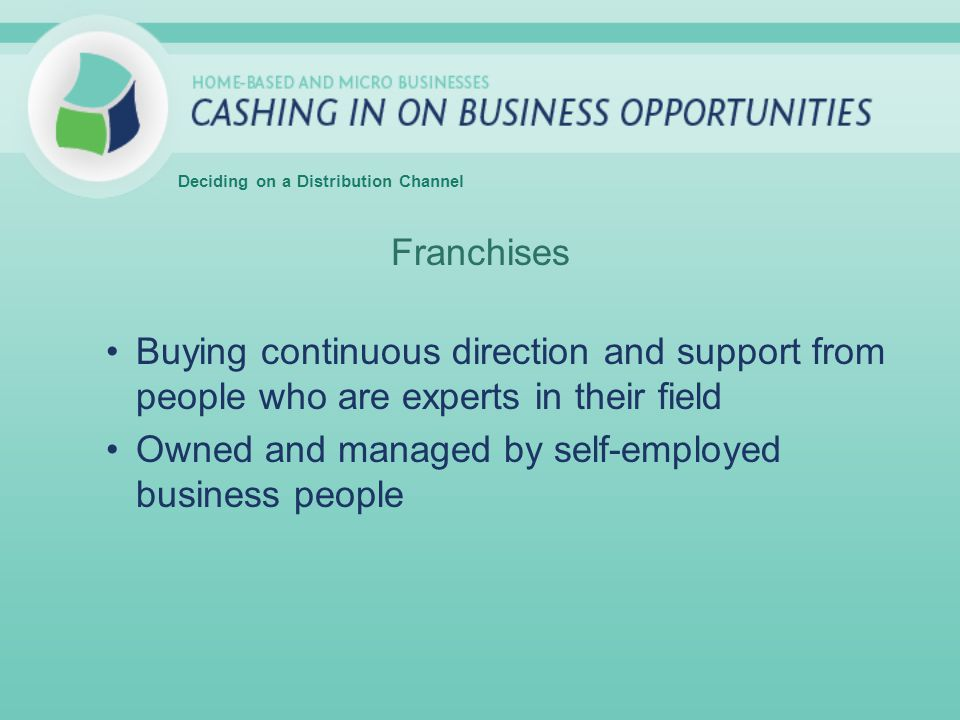 Franchises Buying continuous direction and support from people who are experts in their field Owned and managed by self-employed business people Deciding on a Distribution Channel