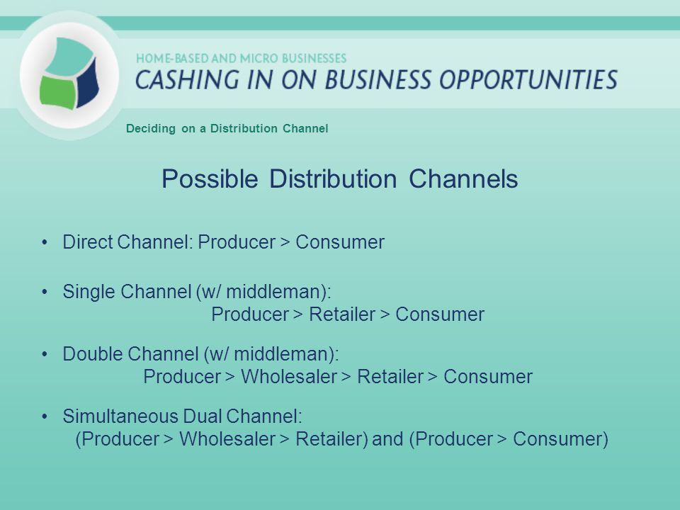 Possible Distribution Channels Direct Channel: Producer > Consumer Single Channel (w/ middleman): Producer > Retailer > Consumer Double Channel (w/ middleman): Producer > Wholesaler > Retailer > Consumer Simultaneous Dual Channel: (Producer > Wholesaler > Retailer) and (Producer > Consumer) Deciding on a Distribution Channel