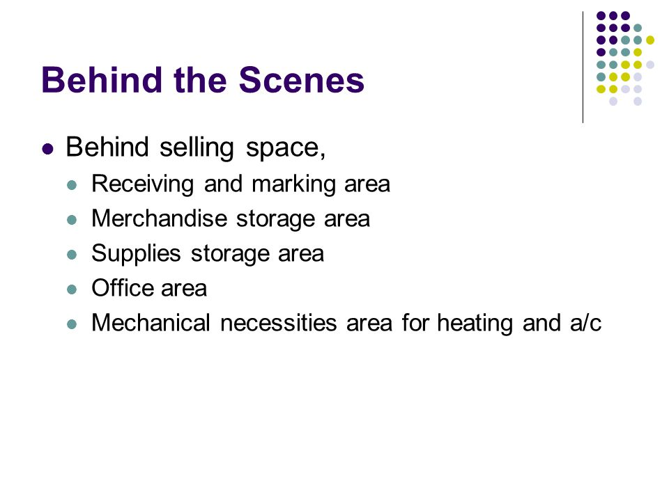 Behind the Scenes Behind selling space, Receiving and marking area Merchandise storage area Supplies storage area Office area Mechanical necessities a