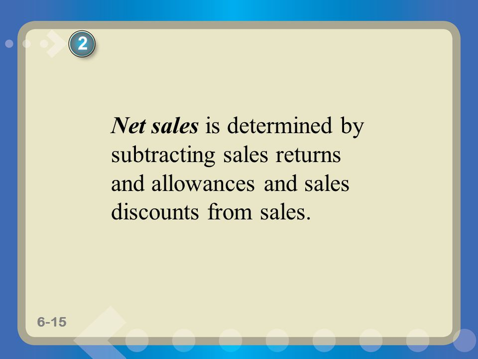 6-15 Net sales is determined by subtracting sales returns and allowances and sales discounts from sales. 2