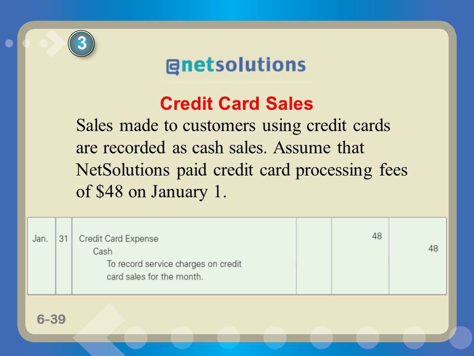 6-39 Sales made to customers using credit cards are recorded as cash sales. Assume that NetSolutions paid credit card processing fees of $48 on Januar