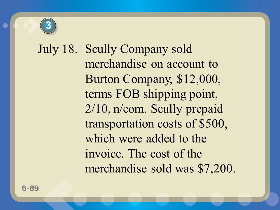 6-89 July 18. Scully Company sold merchandise on account to Burton Company, $12,000, terms FOB shipping point, 2/10, n/eom. Scully prepaid transportat
