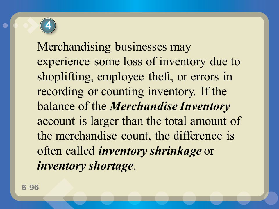6-96 Merchandising businesses may experience some loss of inventory due to shoplifting, employee theft, or errors in recording or counting inventory.