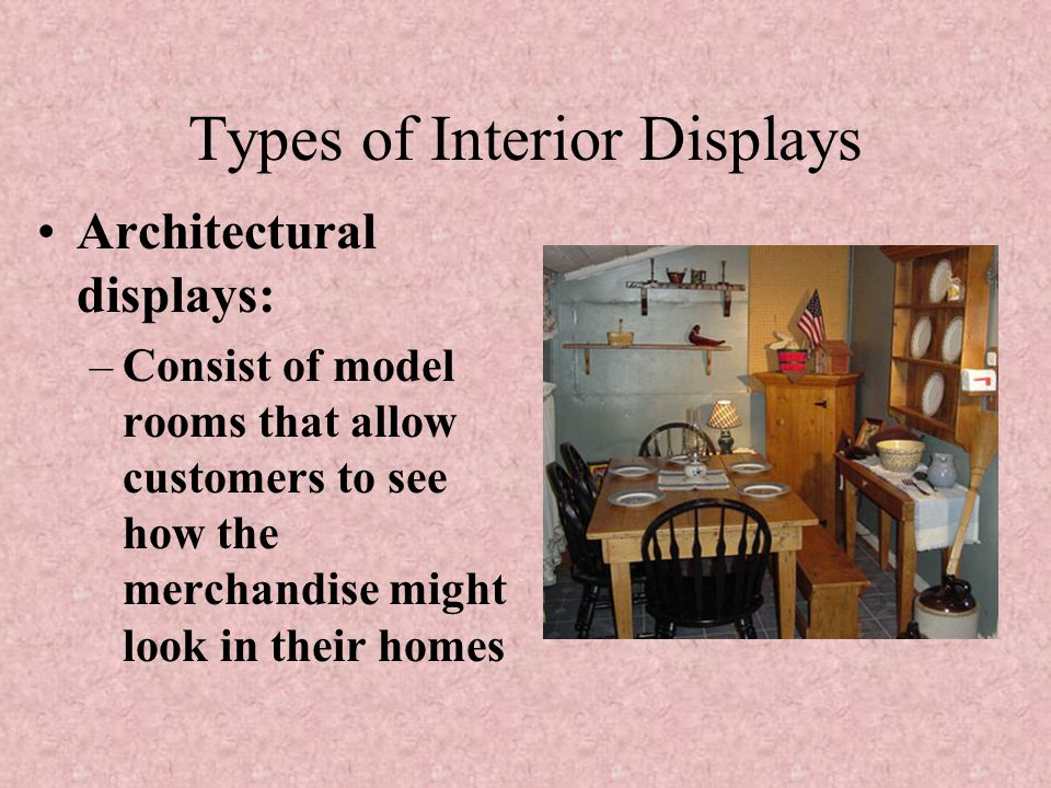 Interior Displays Interior, or in-store displays generate one out of every four sales; they enable customers to make a selection without personal assi
