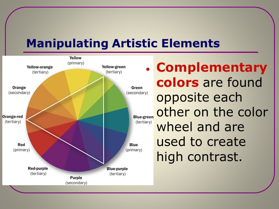 Manipulating Artistic Elements Display colors should contrast with the surrounding colors to make the display stand out. The standard color wheel illu