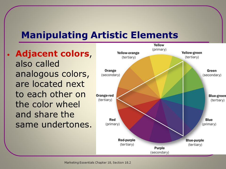 Manipulating Artistic Elements  Complementary colors are found opposite each other on the color wheel and are used to create high contrast.