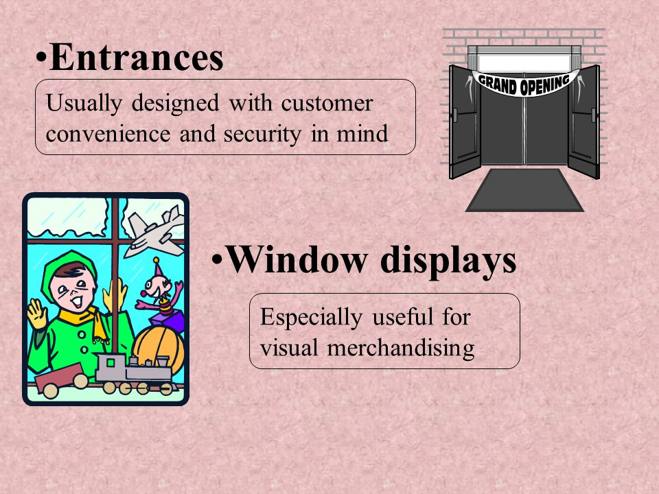 Entrances Window displays Usually designed with customer convenience and security in mind Especially useful for visual merchandising